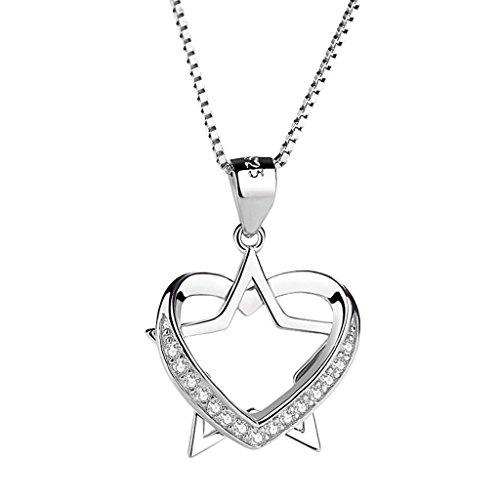 925 Silber Temperament Kragen Halskette Anhänger Rand Intarsien Kleine Zirkonium Bohrer Schmuck Frauen Zubehör ()