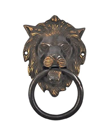Lion head unique brass Black & Gold door Leo knocker Antique Reproduction by karmkara
