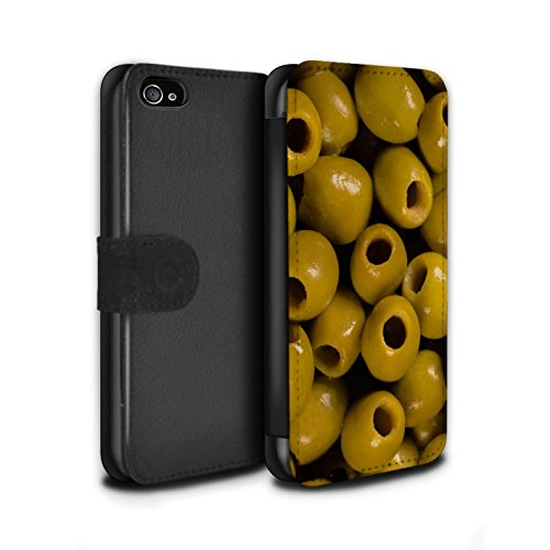 Stuff4 Coque/Etui/Housse Cuir PU Case/Cover pour Apple iPhone 4/4S / Chocolat Design / Nourriture Collection Olives
