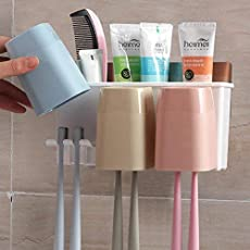 ShoppoStreet Wall Mountable Durable and Stable Plastic Toothbrush Holder with 3 Slots for Keeping Toothpaste, Comb, Cream, Lotion (White)