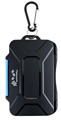 Flashwoife Turtle-SD8MSD16II Caja de protección de tarjeta de memoria impermeable, soporte patentado, estuche para 8 tarjetas SDHC y 16 tarjetas MicroSD con mosquetón