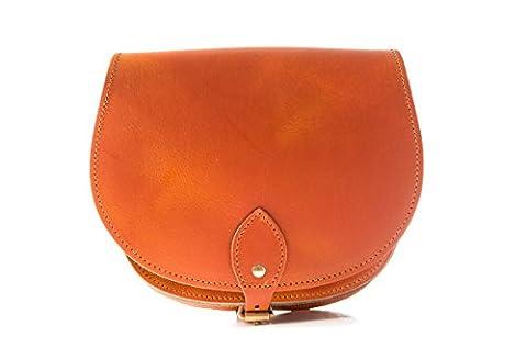 Vintage Naranja de cuero real cuerpo de la cruz de una silla del bolso con correa ajustable y Cierre Hebilla