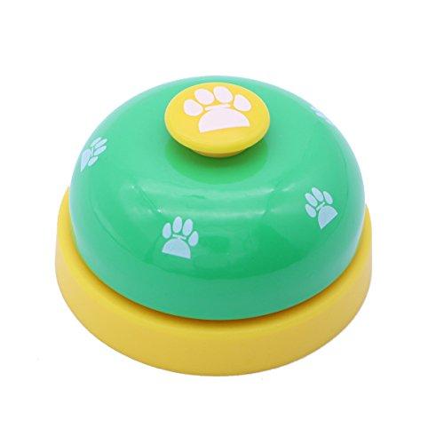 POPETPOP Haustier Hund Bell Töpfchen Spielzeug Fußabdruck Muster Kommunikationsgerät für Hundewelpe Katze (Grün und Gelb) (Bell Hund Töpfchen)