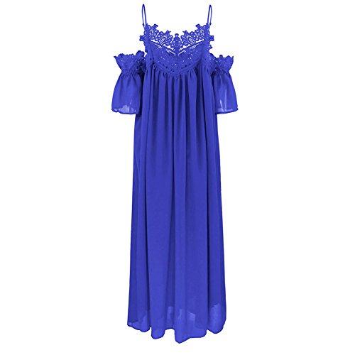 iShine Casual Kleider Damen Sommerkleid Lang Trägerkleid mit Spitze Kleider Loose Chiffonkleider damen Strandkleider Blau