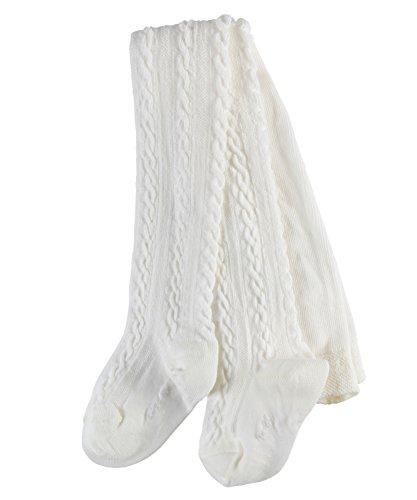 FALKE Baby Mädchen Strumpfhosen / Strickstrumpfhosen Cable - 1 Paar, Gr. 80-92, weiss, weich, Baumwolle Zopfmuster, hautfreundlich warm