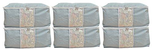 Kuber Industries™ Underbed Storage Bag, Storage Organiser,Blanket Cover Set of 6 Pcs -Grey (Extra Large Size With Handle) Code-UDB07