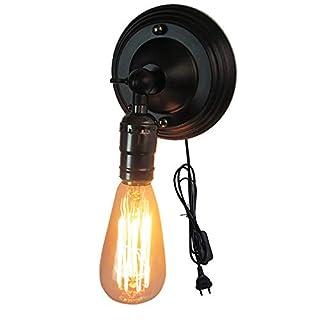 Vintage Edison Loft Wandlampen, E26 Wandleuchte mit Stecker - Wandspot mit Zuleitung und Schalter, für Dekoration Bar Cafe Shop Retro Wandleuchte Art-Lampe, Schwarz/Silber (Schwarz)