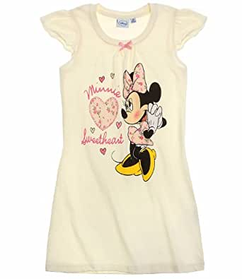 Girls Minnie Mouse Nightdress Kids Disney Nightie Pink Cream Age 2 4 6 8 Years
