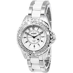 White Dial Herren Diamond Quartz Stainless Uhr in Stahl/Couple Uhr