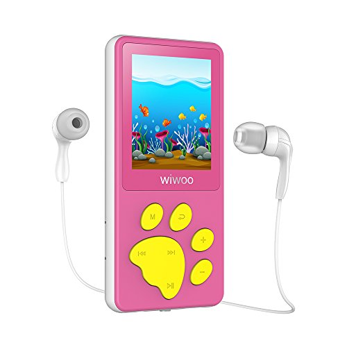 """MP3 Player Kinder, Bärenfussdesign MP4 Player 1,8"""" Bildschirm, MP3 Player mit Kopfhörer, UKW Radio, Spiele, Schlaftimer und Sprachaufnahme"""