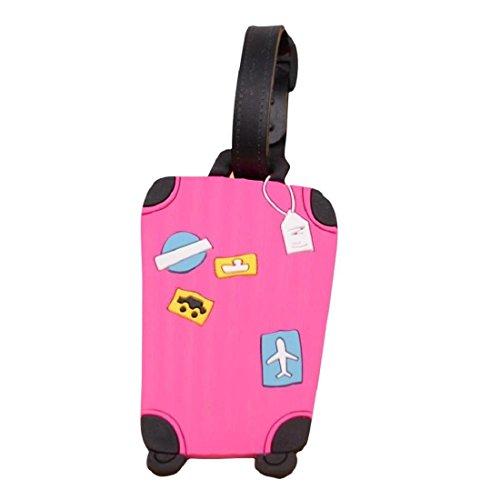 Etiqueta para equipaje,Tongshi viajar identificatoria tarjetero maleta etiqueta la etiqueta para equipaje bolso maleta (Rosado) (Rosa caliente)