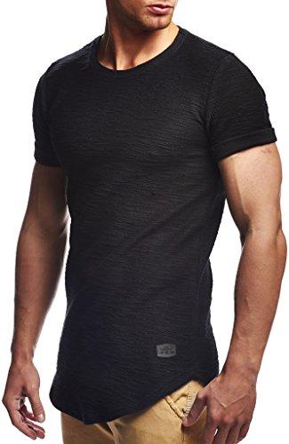 Leif Nelson Herren Sommer T-Shirt Rundhals-Ausschnitt Slim Fit Baumwolle-Anteil Moderner Männer T-Shirt Crew Neck Hoodie-Sweatshirt Kurzarm lang LN6324 Schwarz XXL