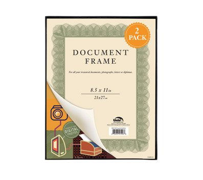 Uniek Bilderrahmen, dünn, 20,3 x 25,4 cm, für Dokumente, Fotos, vertikal oder horizontal, zum Aufhängen oder Aufstellen, 2 Stück