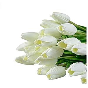 DDG EDMMS – Ramo de Flores Artificiales de tulipán, Flores de Seda Falsas, para decoración de hogar, Boda, Color Blanco…
