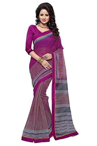 SOURBH Women's Art Silk (Super Net) Printed Saree (2353_Magenta)  available at amazon for Rs.695
