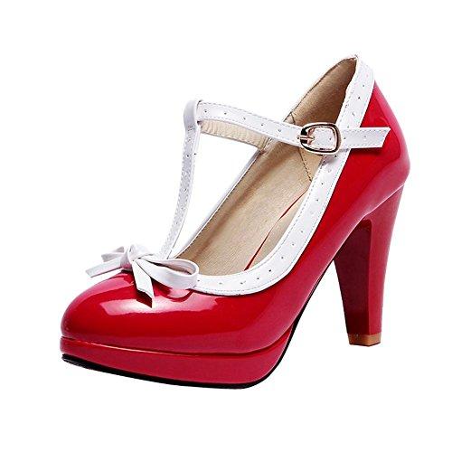 Mee Shoes Damen Modern Süß Populär t-Strap Schnalle mit Schleife Runder Toe Lackleder Plateau Pumps mit Hohen Absätzen (42, Rot)