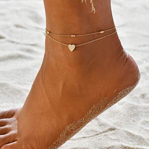 Jovono Boho Perlen Fußkettchen Mode Mehrschichtige Herz Fußkettchen Armbänder Strand Fuß Schmuck für Frauen und Mädchen (Gold)