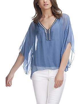 Laura Moretti - Blusa de seda con mangas anchas y perlas en la parte superior