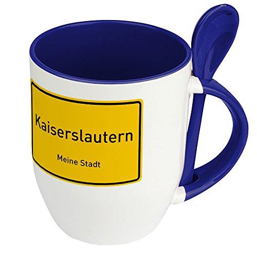 Städtetasse Kaiserslautern - Löffel-Tasse mit Motiv Ortsschild - Becher, Kaffeetasse, Kaffeebecher, Mug - Blau