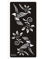 Mehndi Tatouage Pochoir pour le corps Mehndi Tatouages au henné - à usage unique S280 - pour tatouage au henné, tatouage paillettes et aérographe tatouage