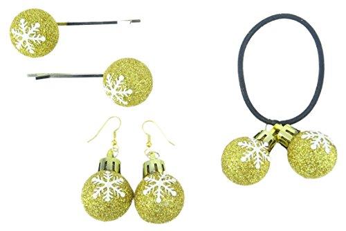 ld Glitzer Schneeflocke Design Ohrringe, Haarspange und Bobble (Sie erhalten 1 von jedem) - Weihnachtszubehör - Weihnachtsfeiern ()