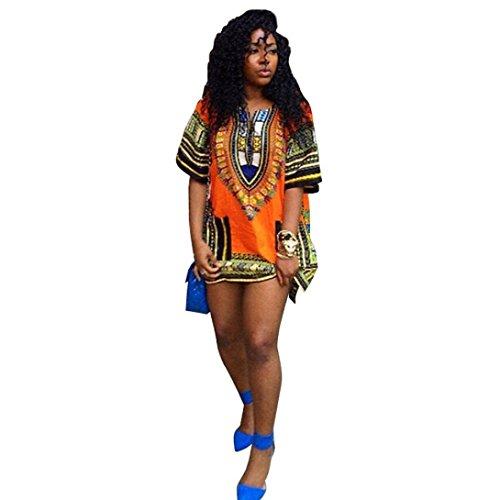 Femme Robe, Tonsee Robe ImpriméE Africain Occasionnels Print Droite Au-Dessus Du Genou Mini Robes Multicoloure Jaune