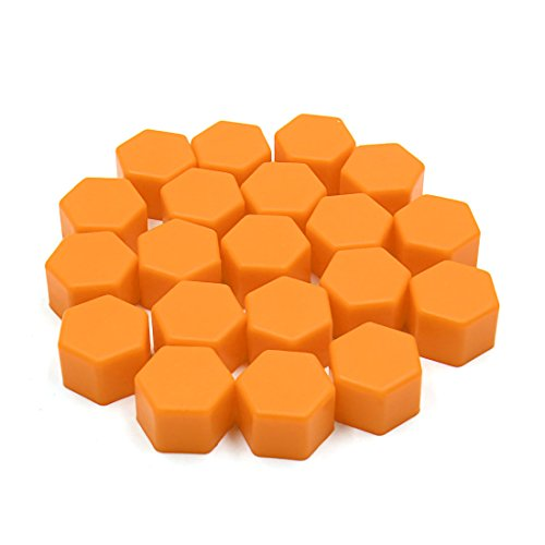 sourcing map 20 pc 19mm Orange Hub Silicone Roue Auto Vis Couvercle Boulon Protection Écrou