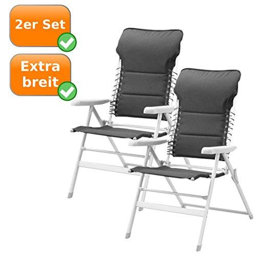 2er Set Faltbare Campingstühle mit extra breiter Sitzfläche, auch als Gartenliegestuhl nutzbar,...