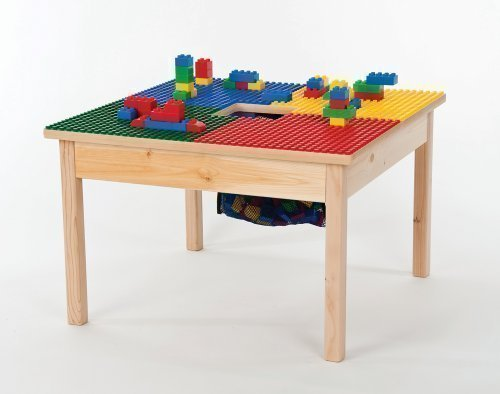 Duplo Compatible Table 27 x 27 with Built In Building Block Storage Container-Made in the USA - Sold Hardwood Legs BUILT TO LAST! by Fun Builder