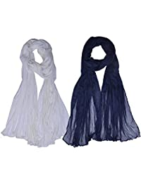 Women's Cotton Dupatta (Brand Factory Outlet) (White,Navy Blue ) Pack Of -2