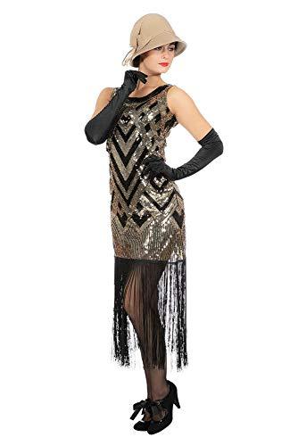 Kleid Charleston Flapper Pailletten Fransen Gold-Schwarz Damen Kostüm Fransenkleid 20's Gatsby Girl , Größe:XXL ()