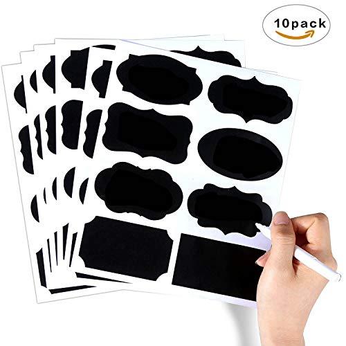 Vegkey 80 Tafel Sticker, Tafel-Vinyl Aufkleber, Großer und wiederverwendbarer Chalkboard Etiketten Mit flüssige Kreide Marker für Gläser, Lebensmittel, Gewürz - Korb Mason-gläser