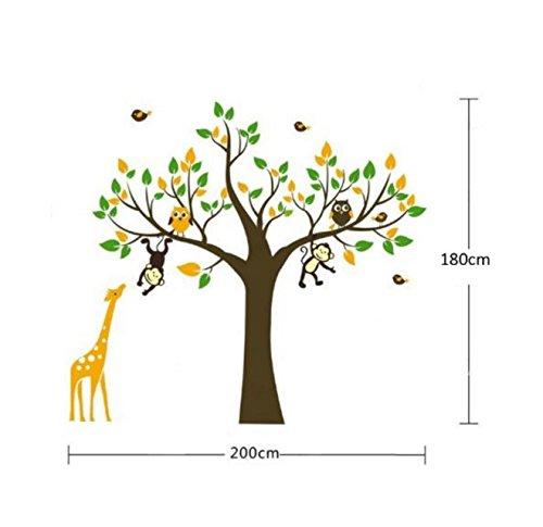 Mono, la jirafa y búho de juego en el árbol de Tatuajes de pared etiqueta de la pared de 180cm (H)