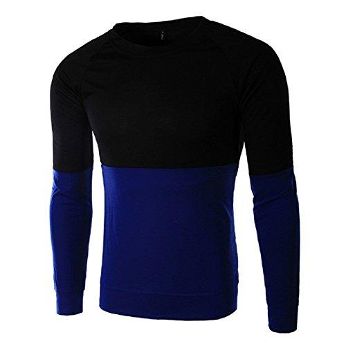 BOMOVO Herren Schlanke Absicherung langärmeligen Mischfarben Longsleeve Langarmshirt Blau