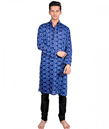 GeeNext Men's Kurta, Colour: Blue Size: XX-Large