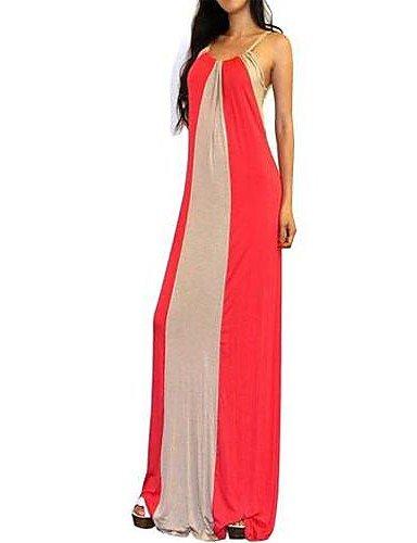PU&PU Robe Aux femmes Ample Sexy / Soirée / Travail / Décontracté , Couleur Pleine A Bretelles Maxi Coton RED-S