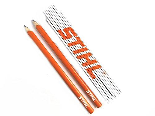Stihl Zollstock weiss und Stihl Zimmermannsbleistifte 2 Stück orange, Gliedermaßstab mit Winkelmesser