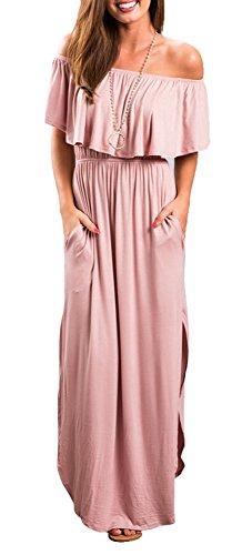 ZJCTUO Schuterfreies Damen Kleid Partykleid Sommerkleid Split Lange Mixikleid Strandkleid (Mädchen Realität T-shirt)