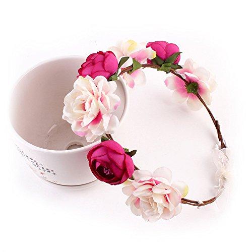 Yuccer Blumen Stirnband Mädchen, Böhmen Blumen Haarband für Damen Haarkranz Blumen für Hochzeit Festival Strand (Rose rot) (Blau, Stirnband Weiß, Rot,)