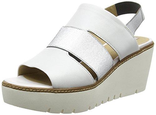 Geox Damen D Domezia B Slingback, Silber (White/SILVERC0007), 39 EU