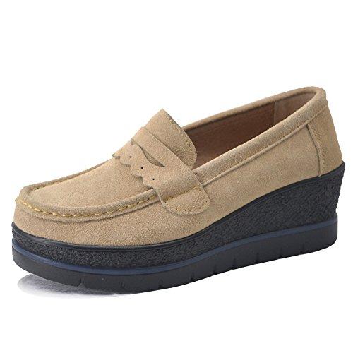 HKR-775xingse39 Damen Schlupf Plateau Penny Loafers Bequeme Wildleder Mokassins Fashion Keil Sportschuhe Braun 38-38.5 (Leder Hand Slip Genäht)