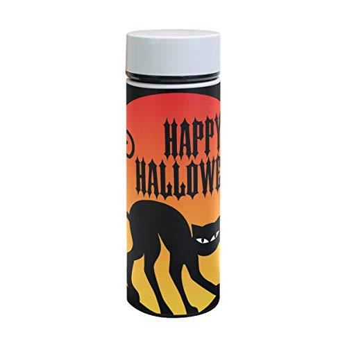 EZIOLY Happy Halloween with Black Cat Vakuumisolierte Edelstahl-Tasse Wasserflasche Reise Kaffee Thermos 350 ml