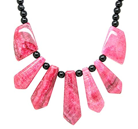 Gemstones pink striped agate necklace chocker handmade necklace 18 inch