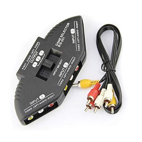 65 Cinch Component (Hohe Qualitätsauswahl 3 Ports Switcher 3fach Audio Video Umschalter Verteiler AV Cinch/RCA Splitter Box Mit Cinchkabel Konverter, 65CM)