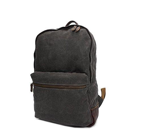 LF&F Backpack Neu Retro MäNner Casual Schultertasche Leinwand / Kuh Leder Sport Rucksack Wasserdicht Lasten Mehrzweck Reisetasche dark gray