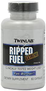 Twinlab Ripped Fuel Extreme Fat Burner, Ephedra Free, 60 Capsules (Pack of 2)