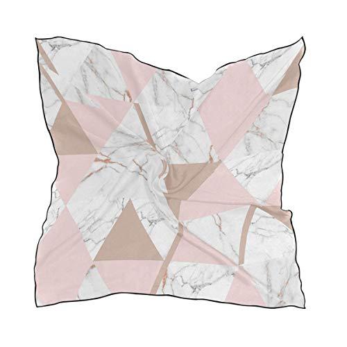 Triangle Geo Marble Pastel Square Neck Scarf Satin Silk Feeling Head Hair Wraps Twill Satin Polyester Hair Scarf Headband 23.6