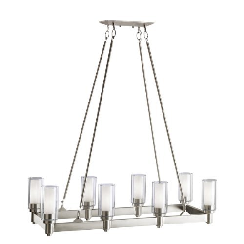 Kichler Lighting 2943NI Circolo 8-Light Linear Island Light, Brushed Nickel with Clear Glass Cylinders and Satin-Etched Inner Cylinders by Kichler Lighting - Nickel Island Light