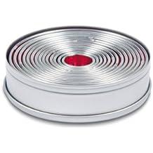 Städter 009073 - Scatola con 14 anelli tagliapasta in lamiera stagnata liscia, scatola ø 12 cm, dimensione degli anelli da ø 2,5 a ø 11,5 cm