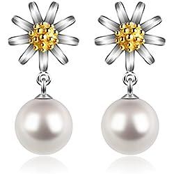 Perla pendientes Mujer Plata de Ley 925 Margarita Colgante D.Perlla Perla Joyas Conjuntocon regalos originales para mujer